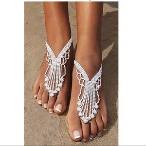 Barefoot Anklet With Toe Ring